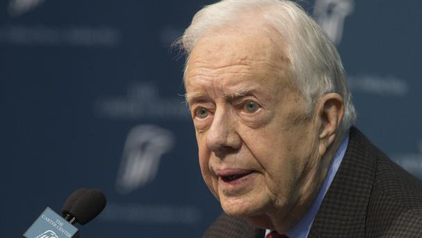 Jimmy Carter addresses a news conference at the Carter Centre in Atlanta. (AP)