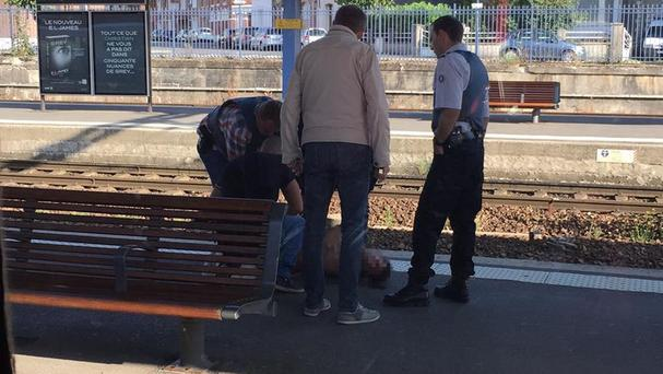 A gunman opened fire on passengers on board the train travelling from Amsterdam to Paris. (@FreedomFilmLLC)