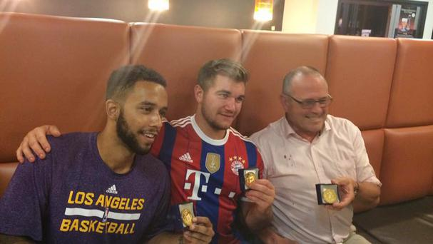 Sacramento State University student Anthony Sadler, National Guardsman Alek Skarlatos and British consultant Chris Norman during a press conference at Arras City Hall, France, after they overpowered a gunman on a train in France.