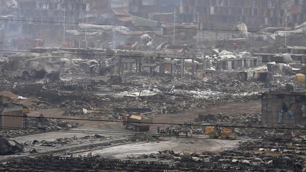 An explosion destroyed a warehouse in north-eastern China (AP)