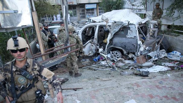 The site of a suicide bomb attack in the heart of Kabul (AP)