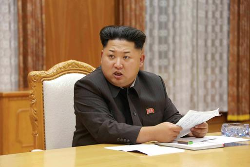 One voice: North Korea's Kim Jong Un speaks at an emergency meeting of his dictatorship's Central Military Commissionbus