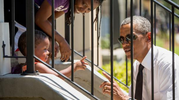 President Barack Obama greets residents of New Orleans