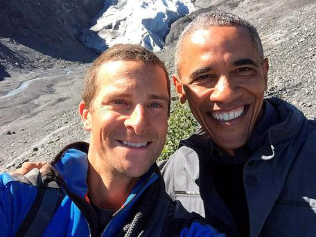 Bear Grylls with US President Barack Obama. He will be filming with Courteney Cox in Ireland this week