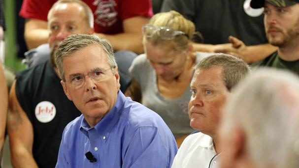 Republican presidential candidate Jeb Bush arrives to speak with workers at Foss Manufacturing in New Hampshire. (AP)