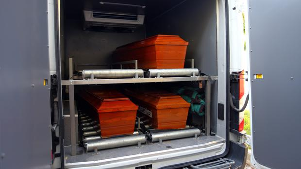 The coffins of mother Rehan Kurdi, and Syrian boys Aylan, three, and Galip, five, who were washed up drowned on a beach near the Turkish resort of Bodrum (AP)