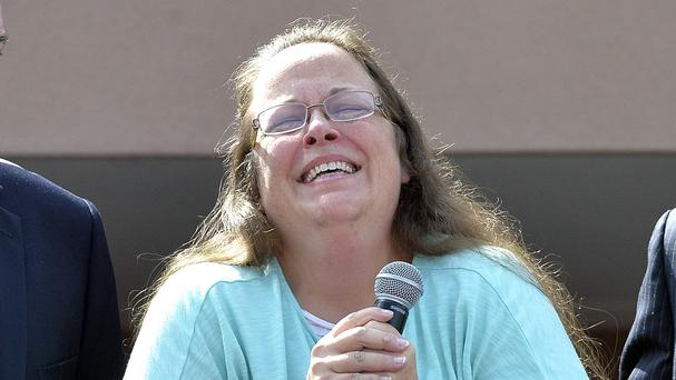 Rowan County Clerk Kim Davis speaks after being released from the Carter County Detention Centre. (AP)