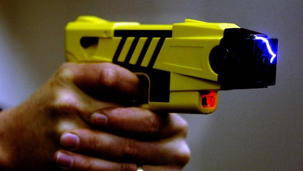 A taser is an electroshock weapon which would offer members of the force better protection in the line of duty