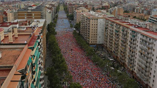 Tens of thousands join a demonstration calling for the independence of Catalonia in Barcelona. (AP)