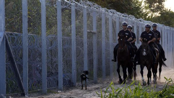 Hungarian police officers guard the border between Serbia and Hungary in Roszke (AP)