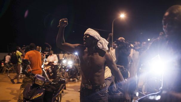 Protests near the presidential palace in Ouagadougou, Burkina Faso. (AP)