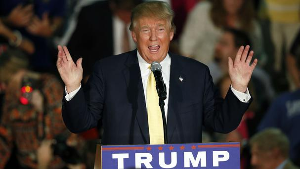 Donald Trump speaks at a town hall event in Rochester, New Hampshire. (AP)