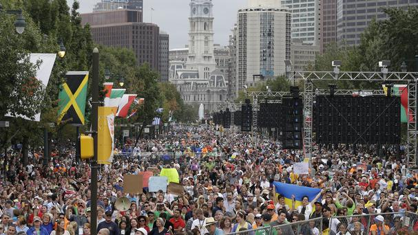 Thousands gather on the Benjamin Franklin Parkway in Philadelphia. (AP)