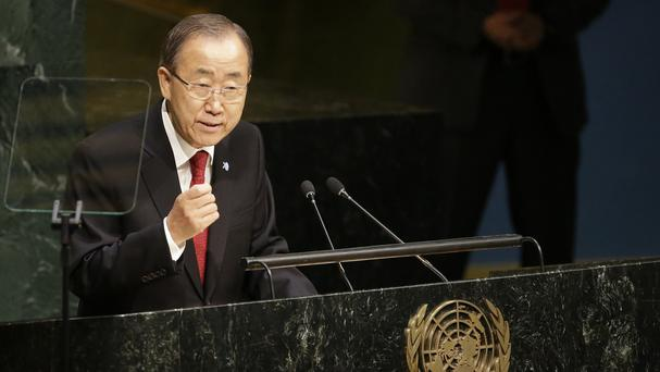 United Nations Secretary-General Ban Ki-moon addresses the 70th session of the General Assembly. (AP)