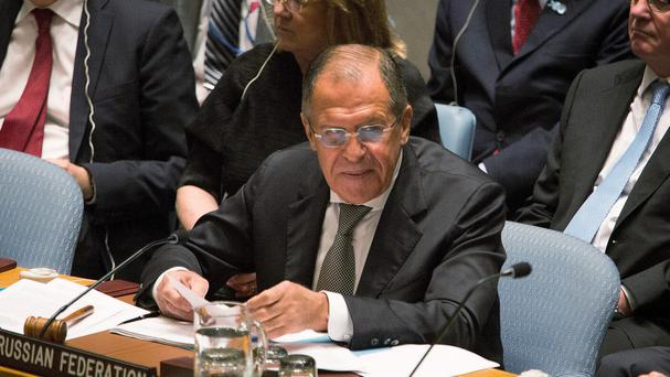 Russia's Foreign Minister Sergey Lavrov addresses the United Nations Security Council (AP)