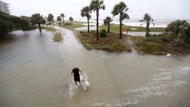 A man walks his dog through flood waters during high tide on the Isle of Palms, South Carolina (AP)