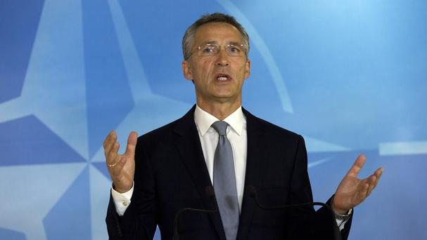 Nato secretary general Jens Stoltenberg at Nato headquarters in Brussels (AP)