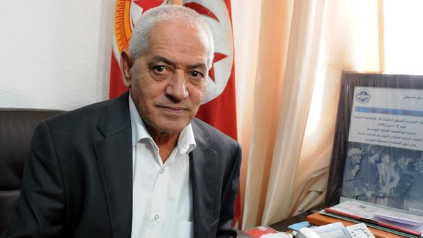 Houcine Abassi, secretary general of the Tunisian General Labour Union. (AP)