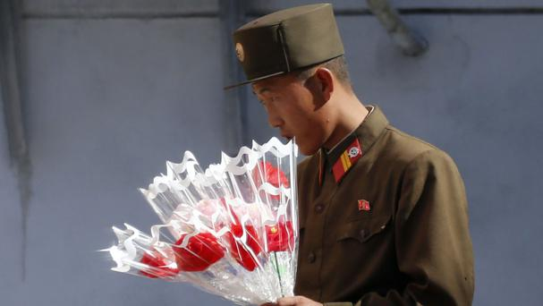 Soldiers are taking part in the lavish parade in North Korea (AP)