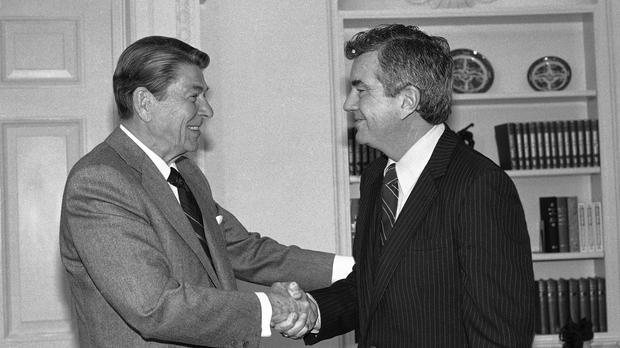 Ronald Reagan with Jerry Parr, the secret service agent he credited with saving his life during an assassination attempt (AP)