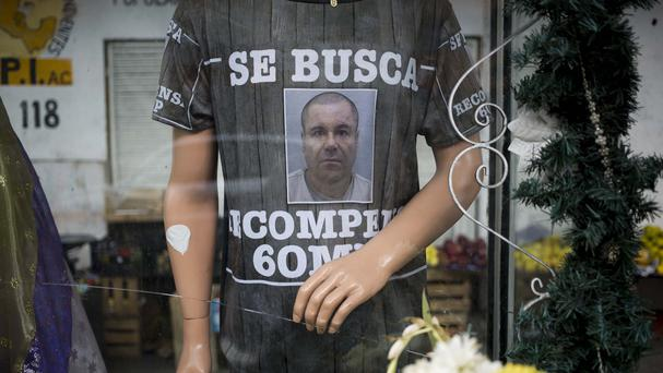 A T-shirt depicting fugitive Mexican drug lord Joaquin