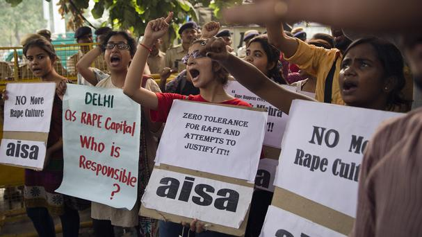 Indian students shout slogans during a protest against the latest incidents of rape in New Delhi. (AP)