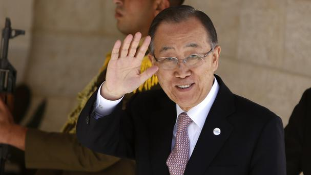 United Nations secretary general Ban Ki-moon made a surprise visit to the Middle East (AP)