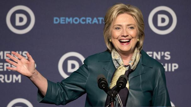 Hillary Clinton addressed Democratic women at a party breakfast in Washington. (AP)