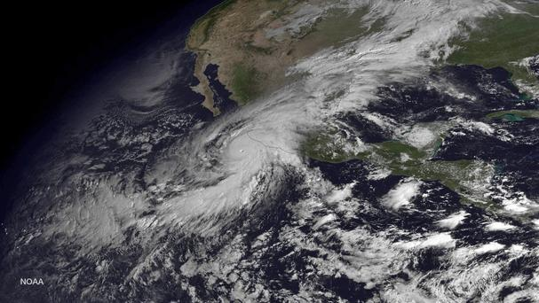 A satellite image shows Hurricane Patricia moving over Mexico's Pacific coast (AP)