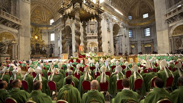 Pope Francis celebrates a mass to mark the end of the synod of bishops (AP)