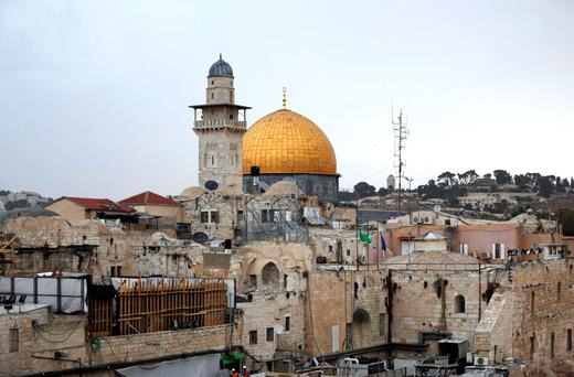 Jerusalem's Al-Aqsa mosque compound with the Dome of the Rock (centre), which will have 24-hour security camera surveillance in a bid to quell recent violence. Photo: Ahma Gharabli
