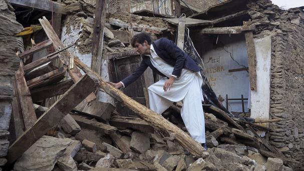 A house damaged by the massive earthquake in Mingora, the main town of Swat valley in Pakistan (AP)