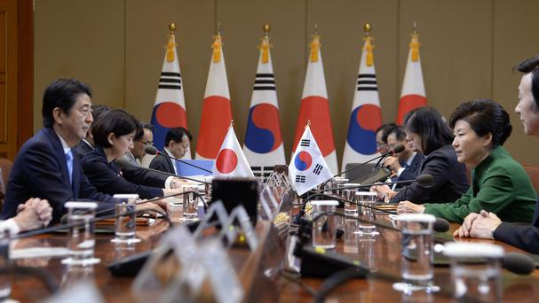 The South Korea/Japan summit at the presidential Blue House in Seoul (AP)