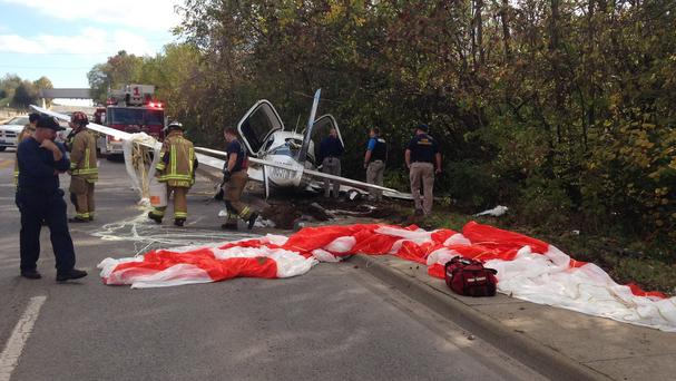 The crash landing scene, posted by Fayetteville police on the force's Facebook page