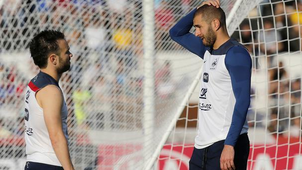 Karim Benzema, right, with Mathieu Valbuena. (AP)