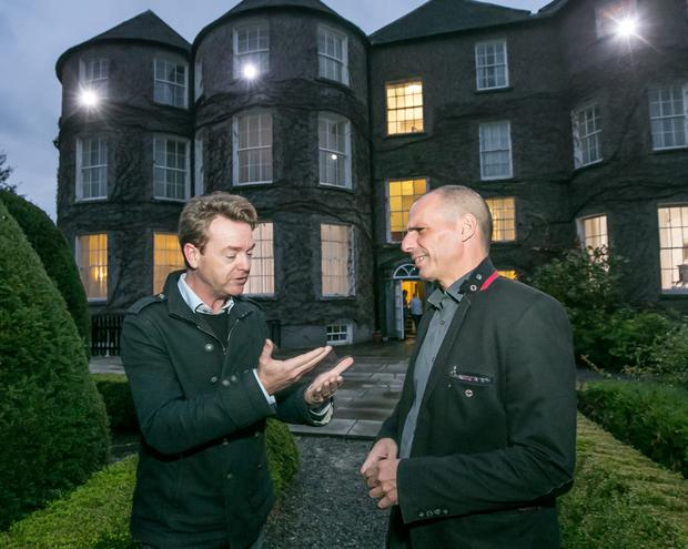 Meeting of minds: Former Greek finance minister Yanis Varoufakis, right, with Kilkenomics co-founder David McWilliams at Butler House in Kilkenny city before he opened the sixth Kilkenomics festival on Thursday night.