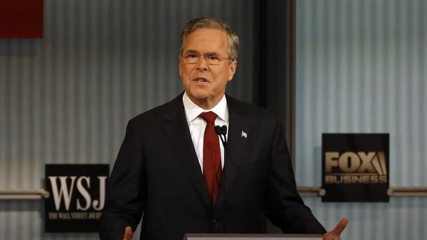 Jeb Bush speaking during the Republican presidential debate in Milwaukee (AP)