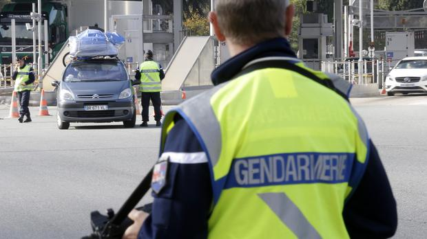 French customs check vehicles at the border in La Turbie (AP)