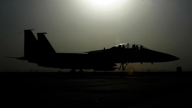 The strike was carried out by an F-15 fighter jet, an official said