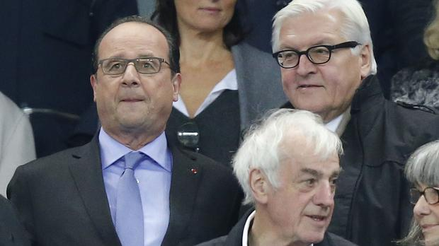Francois Hollande was at the football friendly between France and Germany at the Stade de France stadium. (AP)