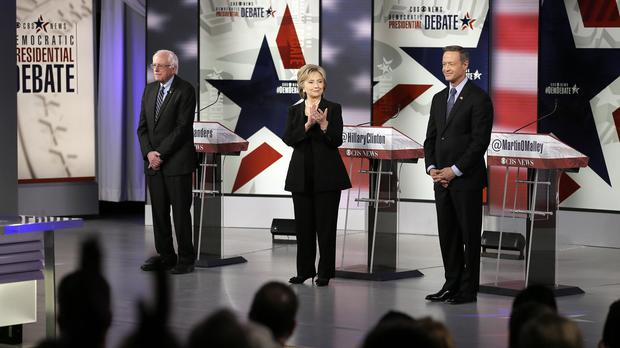 Democratic presidential candidates Bernie Sanders, left, Hillary Clinton and Martin O'Malley (AP)