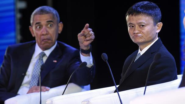 US president Barack Obama, left, with Alibaba founder Jack Ma at the CEOs meeting (AP)