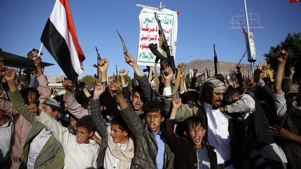 Yemeni Shiites, known as Houthis, protest against Saudi-led air strikes in Yemen (AP)