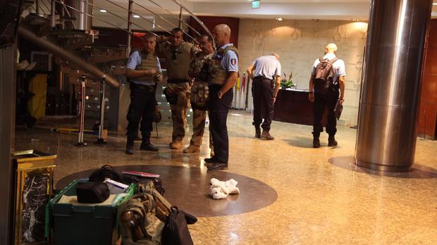 French troops inside the Radisson Blu hotel after the attack (AP)