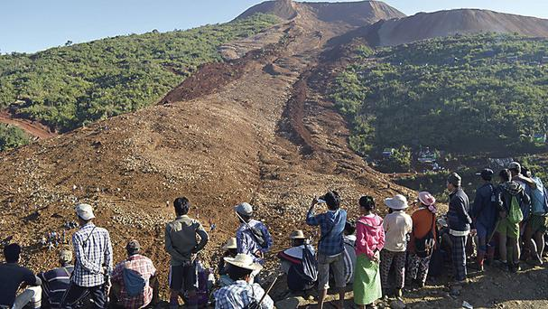 Phakant jade mine after a landslide in Kachin State, Burma (Eleven Media Group via AP)