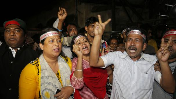 Bangladeshi activists celebrate the executions (AP)