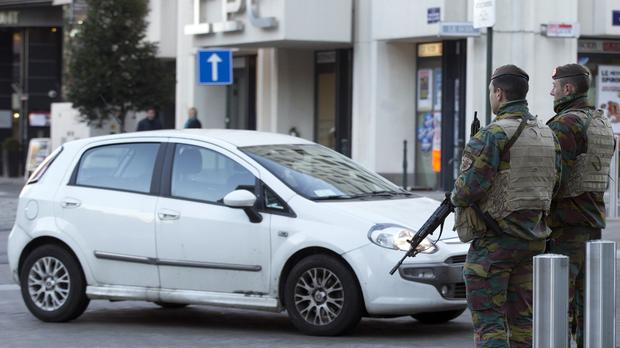 Belgian Army soldiers patrol outside the EU headquarters in Brussels. (AP)
