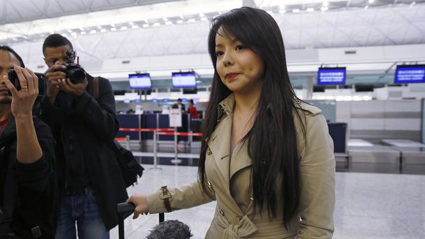 Canada's Miss World contestant Anastasia Lin speaks to media after she was denied entry to mainland China, at Hong Kong International Airport (AP)