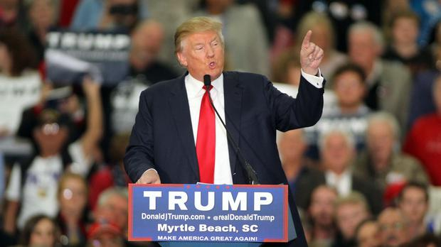 Donald Trump during his speech at the Myrtle Beach Convention Centre in South Carolina (AP)