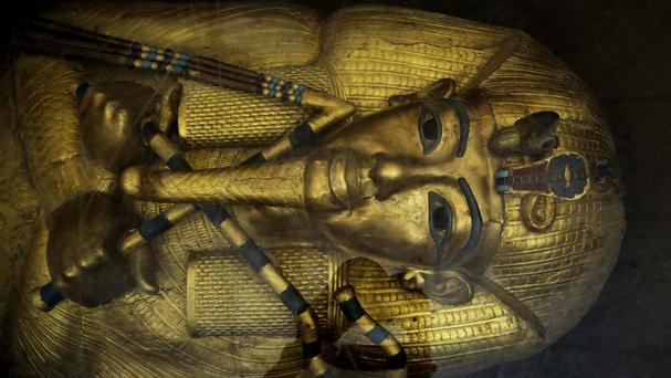 A mask of King Tut displayed at the Valley of the Kings in Luxor, Egypt (AP)